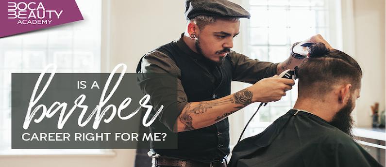Man receiving barbering service in barber shop.